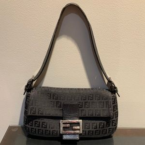 Fendi Zucchino Mama Baguette Black Canvas Bag